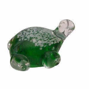 Art Glass Green White Turtle Paperweight